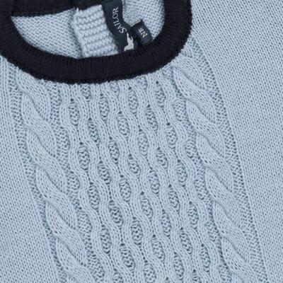 Imagem 2 do produto Macacão longo para bebe em tricot trançado Louis - Mini Sailor - 21774265 MACACAO COM TRANÇAS TRICOT AZUL BEBE-6-9
