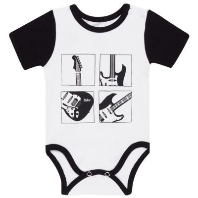 Imagem 1 do produto Body curto para bebe em algodão egípcio Rock´n Roll - Bibe - 41A40-01 BODY CURTO AB OMBRO M GUITARRAS-M