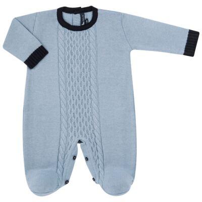 Imagem 1 do produto Macacão longo para bebe em tricot trançado Louis - Mini Sailor - 21774265 MACACAO COM TRANÇAS TRICOT AZUL BEBE-NB