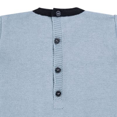 Imagem 3 do produto Macacão longo para bebe em tricot trançado Louis - Mini Sailor - 21774265 MACACAO COM TRANÇAS TRICOT AZUL BEBE-NB