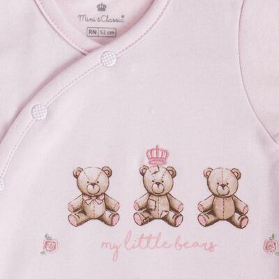 """Imagem 3 do produto Macacão longo c/ abertura """"S"""" para bebe em algodão egípcio Princess Bear - Mini & Classic - 2004655 MACACAO S C/ PE REVERSIVEL SUEDINE URSA-RN"""