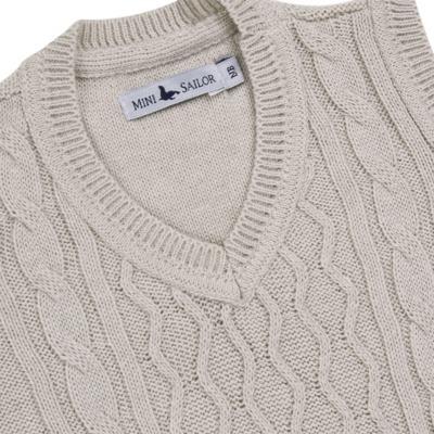 Imagem 2 do produto Macacão Pulôver para bebe em tricot Philippe - Mini Sailor - 16144267 JARDINEIRA C/ TRANÇA TRICOT CAQUI-3-6