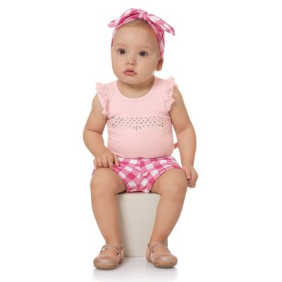 Imagem 2 do produto Body regata com Shorts balonê para bebe Peach - Time Kids - TK5054.RS CONJUNTO BODY E SHORTS XADREZ ROSA-P