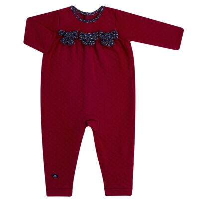 Imagem 1 do produto Macacão longo para bebe em suedine matelassê Liberty - Mini Sailor - 20134263 MACACAO C/ RECOR E LAÇOS MATELASSE VERMELHO-6-9