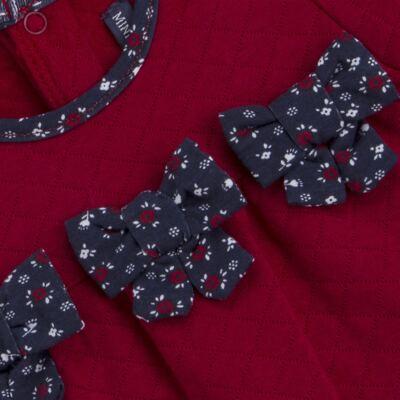 Imagem 3 do produto Macacão longo para bebe em suedine matelassê Liberty - Mini Sailor - 20134263 MACACAO C/ RECOR E LAÇOS MATELASSE VERMELHO-6-9