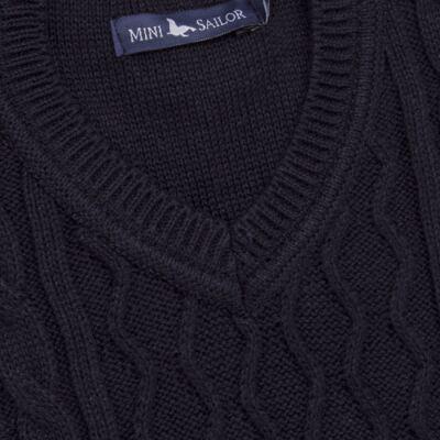 Imagem 2 do produto Macacão Pulôver para bebe em tricot George - Mini Sailor - 16144262 JARDINEIRA C/ TRANÇA TRICOT MARINHO -6-9