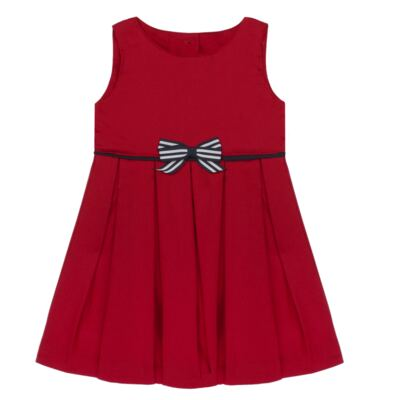 Imagem 2 do produto Vestido c/ Calcinha para bebe em fustão Scarlet - Mini Sailor - 14474263 VESTIDO C/ VIVO FUSTAO VERM ESC-3-6