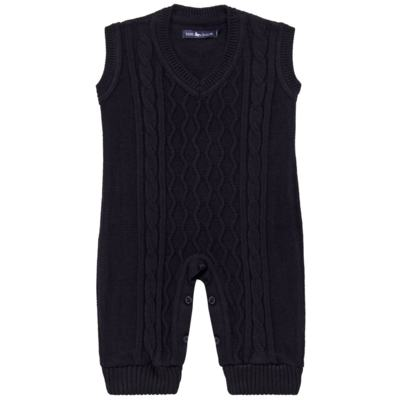 Imagem 1 do produto Macacão Pulôver para bebe em tricot George - Mini Sailor - 16144262 JARDINEIRA C/ TRANÇA TRICOT MARINHO -3-6