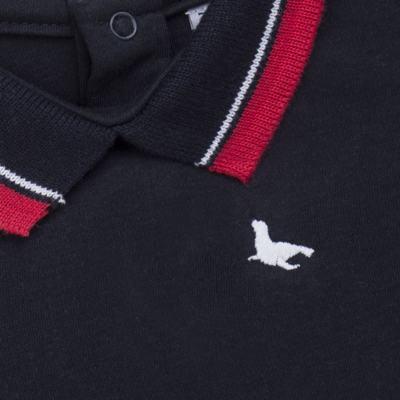 Imagem 2 do produto Body Polo para bebe em cotton touch Marinho - Mini Sailor - 04194262 BODY POLO M/C C/ RETILINEA SUEDINE MARINHO -6-9