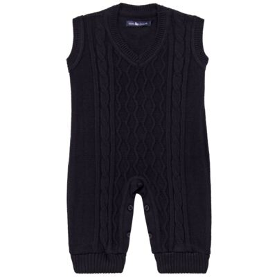 Imagem 1 do produto Macacão Pulôver para bebe em tricot George - Mini Sailor - 16144262 JARDINEIRA C/ TRANÇA TRICOT MARINHO -9-12