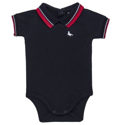 Body Polo para bebe em cotton touch Marinho - Mini Sailor - 04194262 BODY POLO M/C C/ RETILINEA SUEDINE MARINHO -0-3