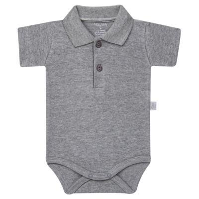 Imagem 1 do produto Body Polo curto para bebe em suedine Mescla - Tilly Baby - TB13120.06 BODY POLO MC SUEDINE MESCLA-RN