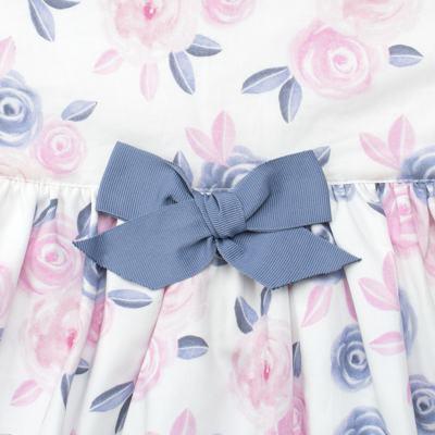 Imagem 2 do produto Vestido curto para bebe em tricoline Flourish - Mini Sailor - 14724440 VESTIDO C/LACO TRICOLINE FLORAL ROSA-9-12