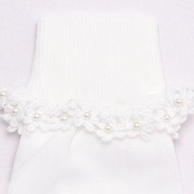 Imagem 2 do produto Meia para bebê branca bordada Flores - Roana - 406-A Meia branca bordada Flores-G