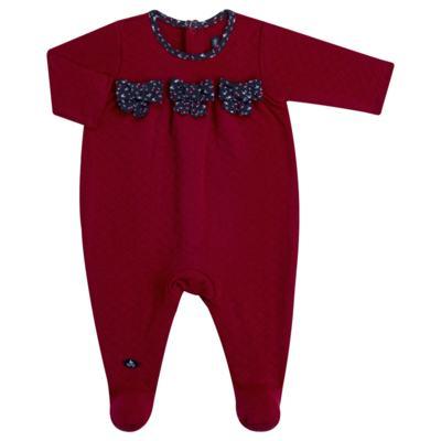 Imagem 1 do produto Macacão longo para bebe em suedine matelassê Liberty - Mini Sailor - 20134263 MACACAO C/ RECOR E LAÇOS MATELASSE VERMELHO-0-3