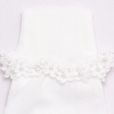 Imagem 2 do produto Meia para bebê branca bordada Flores - Roana - 406-A Meia branca bordada Flores-PR
