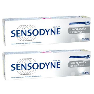 Imagem 2 do produto Kit Sensodyne Creme Dental Branqueador Extra Fresh 50g 2 unidades Grátis Escova Dental Sensodyne Multi Proteção