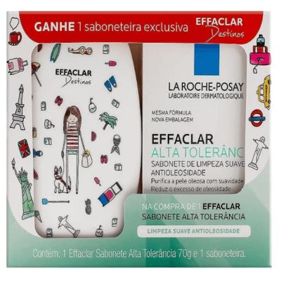 Sabonete Facial La Roche-Posay - Effaclar Alta Tolerância barra | 70g | + saboneteira, Effaclar Destinos, grátis
