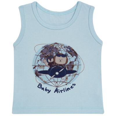 Imagem 2 do produto Regata com Cobre fralda em algodão egípcio Baby Airlines - Grow Up - 04070051.0003 RGTA C/ FRALDA AVIATOR AZUL-P