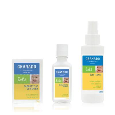 Imagem 1 do produto Kit com 1 sabonete + 1 Loção Hidratante + 1 Óleo Suave para bebê Tradicional - Granado