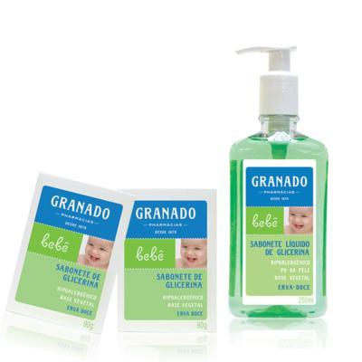 Imagem 1 do produto Kit com 2 sabonetes + 1 Sabonete Líquido para bebê Erva-doce - Granado