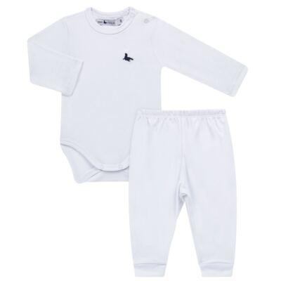 Imagem 1 do produto Body longo c/ Calça (mijão) em cotton touch Branco - Mini Sailor - 19354260 BODY M/L C/ MIJAO SUEDINE BRANCO -6-9