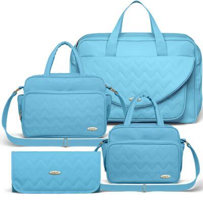 Imagem 1 do produto Mala Maternidade para bebe + Bolsa Turin + Frasqueira Térmica Trento + Trocador Portátil Chevron Turmalina - Classic for Baby Bags