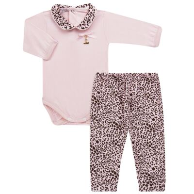 Imagem 1 do produto Body longo com Mijão para bebê em algodão egípcio Oncinha - Roana - 02532023220 CONJUNTO BODY GOLA + MIJÃO ONCINHA -G