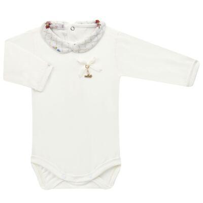 Imagem 2 do produto Body longo c/ Calça (Mijão) em algodão egípcio Flores - Roana - 02532019031 Conjunto Body longo com Calça Marfim-M