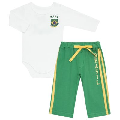 Imagem 1 do produto Body longo com Calça para bebe em Pima Cotton Supreme Brasil - Mini & Kids - CBBC334 BODY ML COM CALÇA SUEDINE BRASIL-P