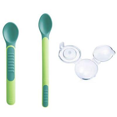 Imagem 1 do produto Kit 2 colheres com cobertura de proteção Feeding Spoons & Cover Boys Verde (6m+) - MAM