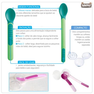 Imagem 2 do produto Kit 2 colheres com cobertura de proteção Feeding Spoons & Cover Boys Verde (6m+) - MAM