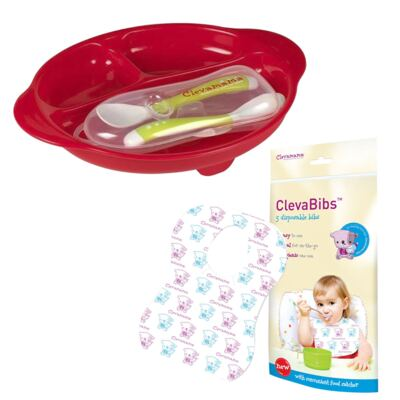 Imagem 1 do produto Prato c/ 2 Colheres e Estojo + Babador descartável c/ 5 unidades ClevaBibs - Clevamama