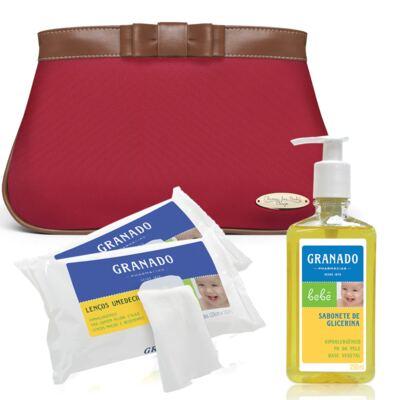 Imagem 1 do produto Necessaire Laço Caramel Vermelha + 2 Lenços Umedecidos + Sabonete Líquido Bebê Tradicional - Classic For Baby Bags & Granado