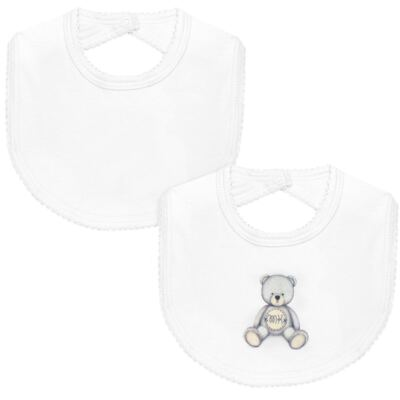 Pack: 2 babadores em Pima Cotton Supreme Prime Bear Branco - Mini & Kids