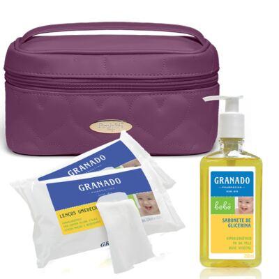 Imagem 1 do produto Kit Necessaire Farmacinha Corações Matelassê Vinho + 2 Lenços Umedecidos + Sabonete Líquido Bebê Tradicional - Classic For Baby Bags & Granado