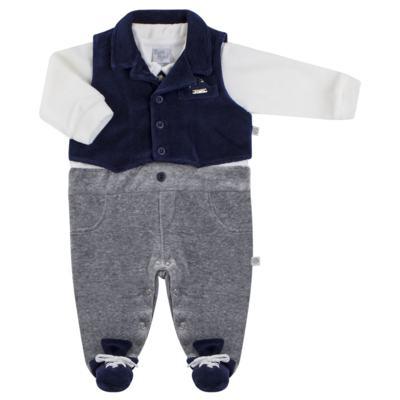 Imagem 1 do produto Macacão longo c/ Colete para bebe em plush Benicio - Beth Bebê - BB8919 Macacão Colete Benicio Azul-M