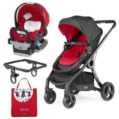 Imagem 1 do produto Urban Travel System: Carrinho Urban Plus + Color Pack Red Wave + Poltrona Keyfit Fire - Chicco