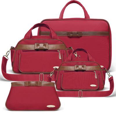 Imagem 1 do produto Kit Mala Maternidade para bebe + Bolsa Viagem Oxford + Frasqueira Térmica Kent + Necessaire Laço Caramel Vermelho - Classic for Baby Bags