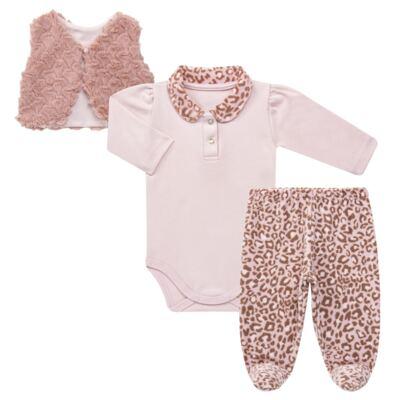Imagem 1 do produto Body longo com Calça (mijão) e Colete para bebe Leopard Print - Grow Up - 01040056.121 CJ PG CUDDLE C/ COLETE ROSA BLUSH-P