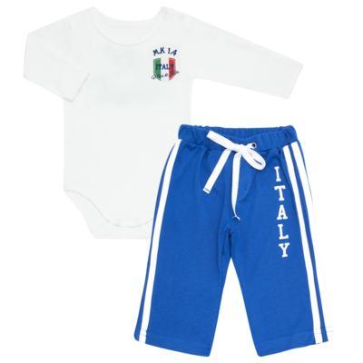 Imagem 1 do produto Body longo com Calça para bebe em Pima Cotton Supreme Itália - Mini & Kids - CBBC335 BODY ML COM CALÇA SUEDINE ITÁLIA-P