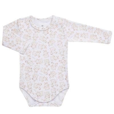 Imagem 2 do produto Body longo com Calça para bebe em algodão egípcio c/ jato de cerâmica   Nature Little Friends - Mini & Classic - CJBM650 CONJ BODY ML C/ MIJAO SUEDINE NATURE-P