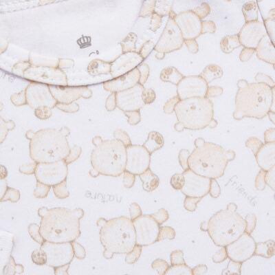 Imagem 3 do produto Body longo com Calça para bebe em algodão egípcio c/ jato de cerâmica   Nature Little Friends - Mini & Classic - CJBM650 CONJ BODY ML C/ MIJAO SUEDINE NATURE-P