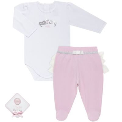 Imagem 1 do produto Body longo com Calça (mijão) para bebe em spandex Ballerine - Mini & Kids - CLTU1356 BODY ML E MIJAO C/BABADO TULE EXPAND BALLET-P
