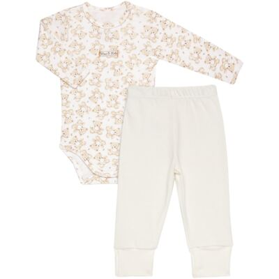 Imagem 1 do produto Body longo com Calça em algodão egípcio c/ jato de cerâmica e filtro solar fps 50 Nature Little Friend Bear - Mini & Kids - CJBM0001.18 CONJUNTO BODY M/L C/CALÇA - SUEDINE-P