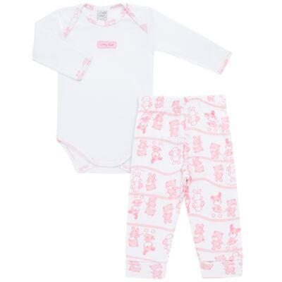 Imagem 1 do produto Body longo com Calça (mijão) para bebe em high comfort Pink Litle Friends - Vicky Lipe - 1825151.311 BODY M/L MIJÃO PÉ REVER. FRIENDS-M