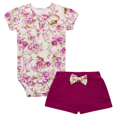 Imagem 1 do produto Body com Shorts para bebe em suedine L'Amore - Grow Up - 04080007.132 CONJUNTO POETRY FLORAL-G