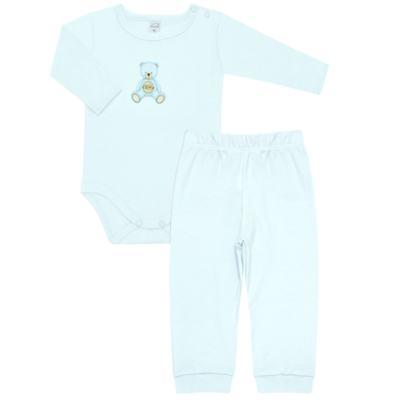 Imagem 1 do produto Body longo com Calça  em Pima Cotton Supreme Prime Bear Azul - Mini & Kids - CS971 BODY ML C/ MIJÃO SUEDINE AZUL BB-G