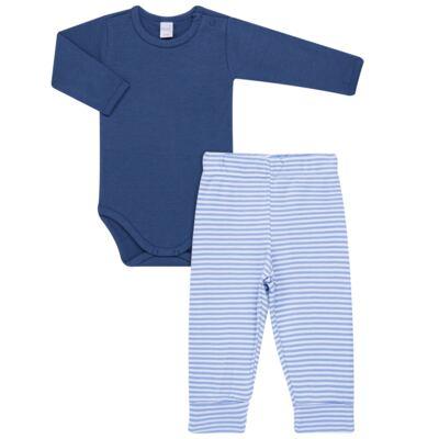 Imagem 1 do produto Body longo com Calça para bebe em algodão egípcio c/ jato de cerâmica e filtro solar fps 50 Mariner - Mini & Kids - CS571.323 CONJ BODY ML C/ MIJAO SUEDINE LISTRAS-G