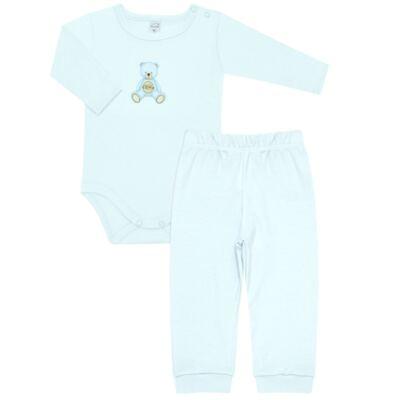 Imagem 1 do produto Body longo com Calça  em Pima Cotton Supreme Prime Bear Azul - Mini & Kids - CS971 BODY ML C/ MIJÃO SUEDINE AZUL BB-M